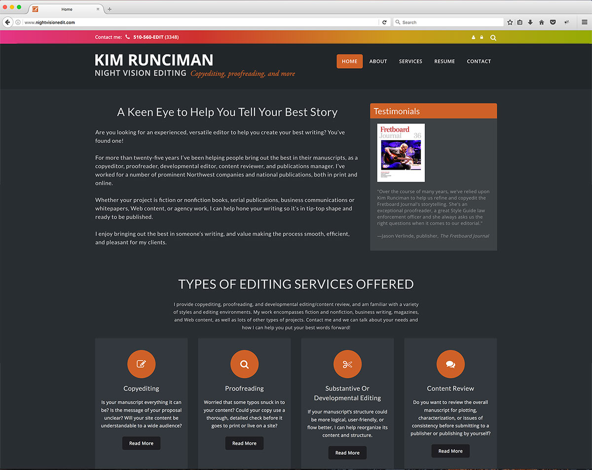 Case Study: Freelance Editor's Website